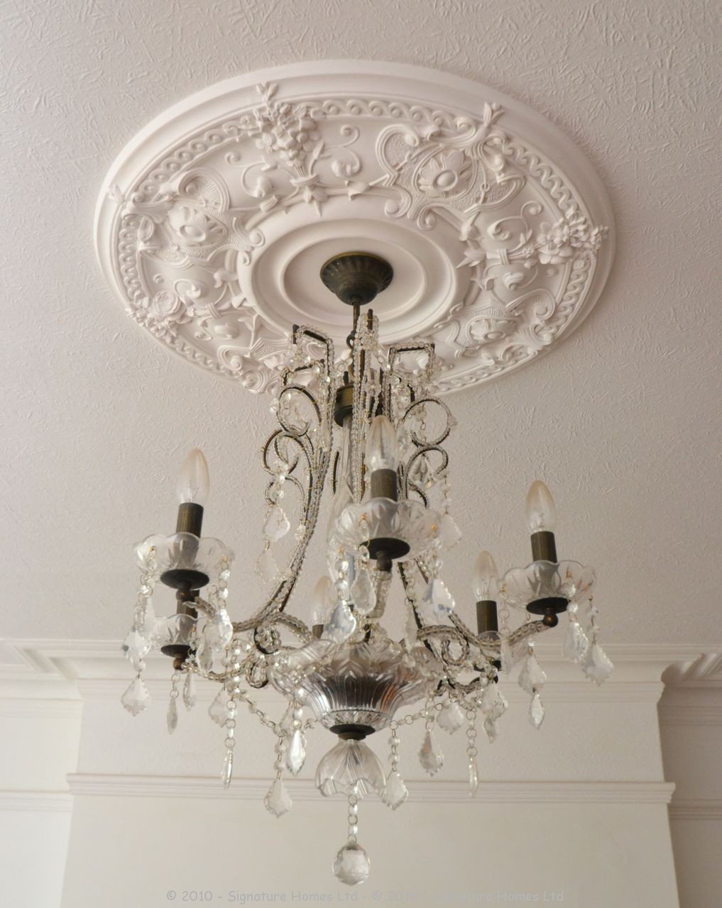 Fireplace Installation with Coving Ceiling Rose & Chandelier